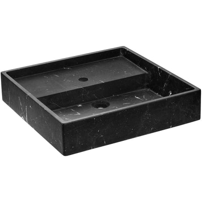 Exclusive Square Vessel Sink Countertop Lavatory Washbasin Matte Marquina Marble - AGM Home Store LLC