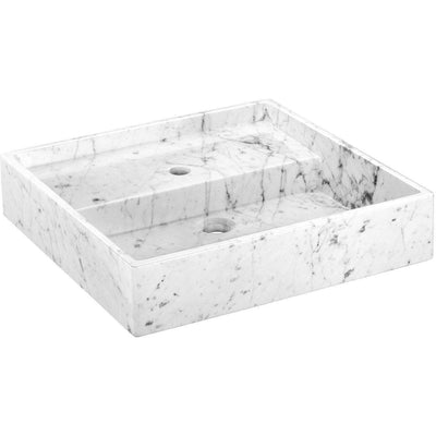 Exclusive Square Vessel Sink Countertop Lavatory Washbasin Glossy Carrara Marble - AGM Home Store LLC
