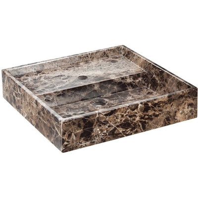 Exclusive Square Vessel Sink Countertop Lavatory Washbasin Gloss Breccia Marble - AGM Home Store LLC