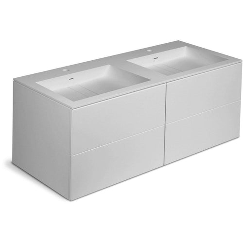 Orren 47 in. Wall Double Sink Bathroom Vanity 4 Drawers, Solid Surface Washbasin - AGM Home Store LLC