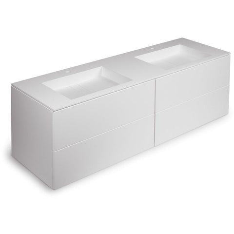 Orren 63 in. Wall Double Sink Bathroom Vanity 4 Drawers, Solid Surface Washbasin - AGM Home Store LLC