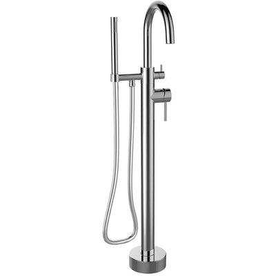 Elba free-standing floor-mounted bathtub filler faucet with hand shower - AGM Home Store LLC