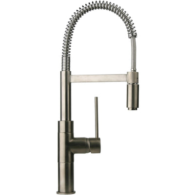 Elba single handle kitchen faucet with spring sprout in Brushed Nickel - AGM Home Store LLC