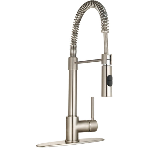 Pogno single handle pull-out spray kitchen faucet in Brushed Nickel - AGM Home Store LLC