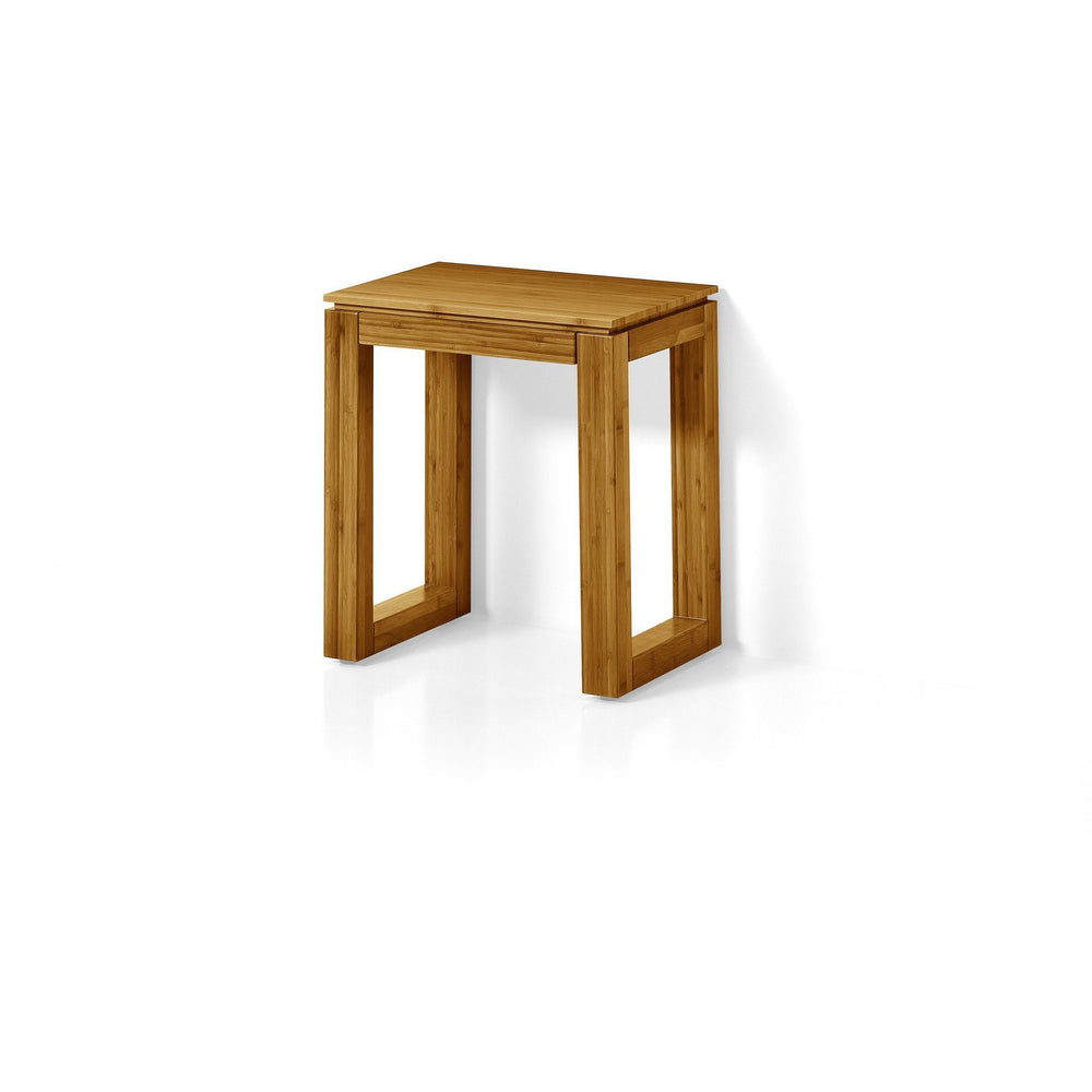 LB Canavera Backless Vanity Stool Bench Seat Lacquer Bamboo Natural Wood - AGM Home Store LLC