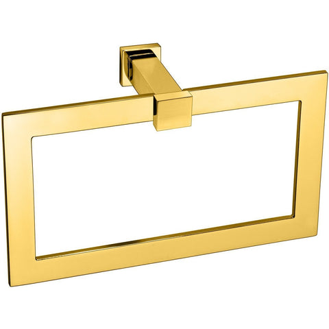 Plain Lisa Rectangular Brass Towel Ring Holder - Gold/ Chrome - AGM Home Store LLC