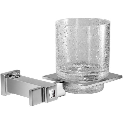 Moonlight Wall Crackled Glass Toothbrush Holder W/ Swarovski Crystals - Chrome