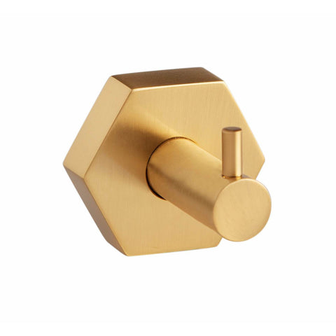 Geo Wall Mounted Single Towel Robe Hook Hanger for Bath Towel Holder, Brass - AGM Home Store LLC