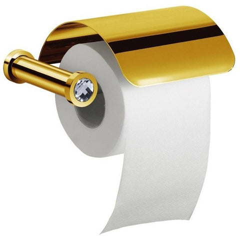 Moonlight Toilet Paper Holder W/ Lid Swarovski Crystal - Chrome/ Gold - AGM Home Store LLC