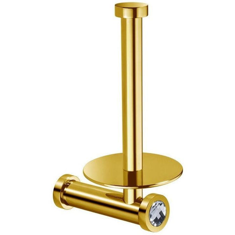 Moonlight Vertical Spare Toilet Paper Holder w/ Swarovski Crystal - Chrome/ Gold - AGM Home Store LLC
