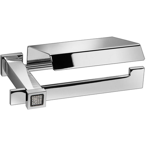 Starlight Toilet Paper Holder W/ Lid - Swarovski Crystals - Polished Chrome - AGM Home Store LLC