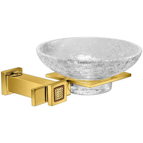 Starlight Wall Crackled Glass Soap Dish Holder W/ Swarovski Crystals - Gold/ Chrome - AGM Home Store LLC