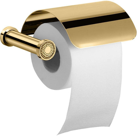 Shinelight Toilet Paper Holder W/ Lid - Swarovski Crystals - Chrome/ Gold - AGM Home Store LLC