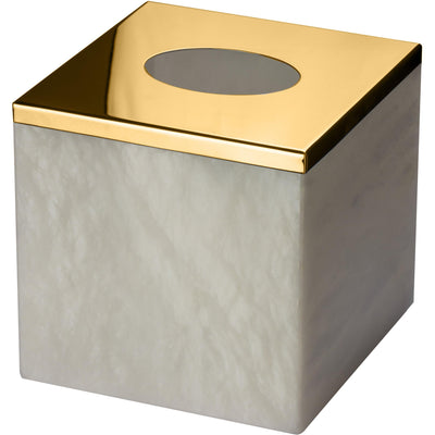 Alabaster Square Tissue Box Holder Cover Tray Dispenser Tissue Case - AGM Home Store LLC