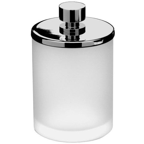 Addition Frosted Glass Round Cotton Ball Swab Holder, Q Tip Jar Canister, Brass - AGM Home Store LLC