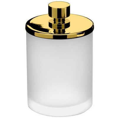 Addition Frosted Glass Round Cotton Ball Swab Holder, Q Tip Jar for Bath, Brass - AGM Home Store LLC