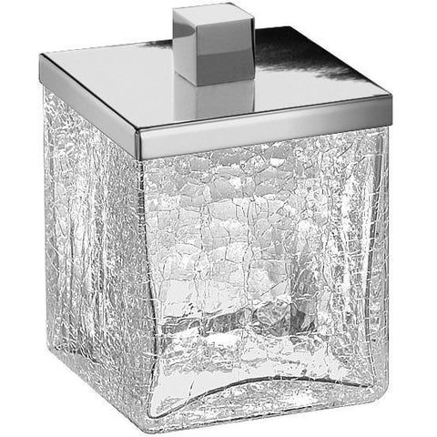 Box Crackled Glass Square 3.1 in. Cotton Ball Swab Holder, Q Tip Jar Canister for Bath - AGM Home Store LLC