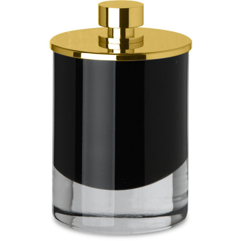 Black Glass Round Cotton Ball Swab Holder, Q Tip Jar Canister for Bathroom, Brass - AGM Home Store LLC