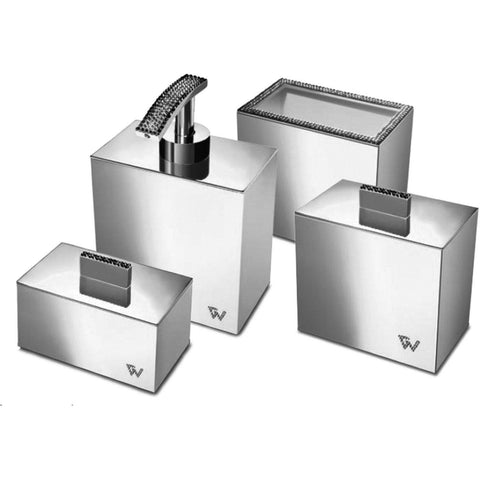 Starlight Square Bathroom Accessories Set W/ Swarovski - 4 Piece