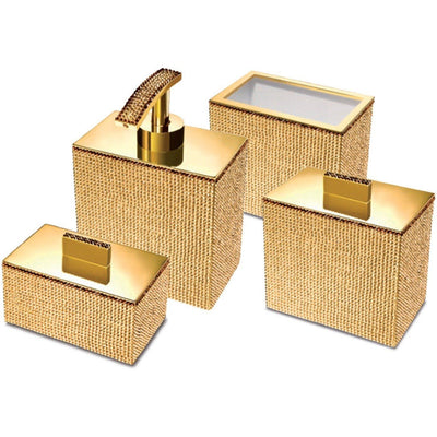 Starlight Square Bathroom Accessories Set W/ Swarovski - 4 Piece - AGM Home Store LLC