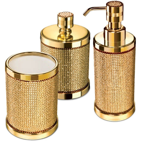 Starlight Bathroom Accessories Set W/ Swarovski - 3 Piece Chrome/ Gold
