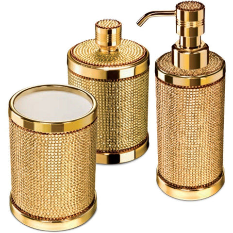 Starlight Bathroom Accessories Set W/ Swarovski - 3 Piece Chrome/ Gold - AGM Home Store LLC