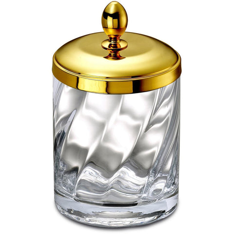 Spiral Clear Glass Round Cotton Ball Swab Holder, Q Tip Jar for Bathroom, Brass - AGM Home Store LLC