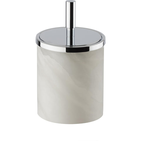 Alabaster Round Cotton Ball Swab Holder, Q Tip Jar Canister for Bathroom - AGM Home Store LLC