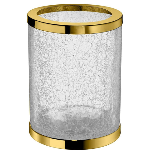 Addition Crackled Glass Round Open Top Wastebasket Trash Can for Bath, Kitchen - AGM Home Store LLC