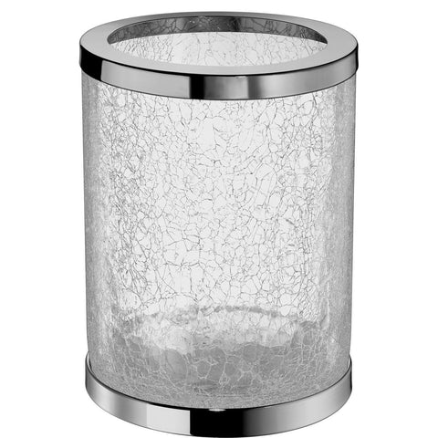 DWBA Round Wall Mounted Wastebasket Trash Can W/ Hinged Lid. Chrome