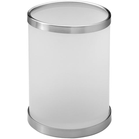 Addition Frosted Glass Round Open Top Wastebasket Trash Can for Bath, Kitchen - AGM Home Store LLC