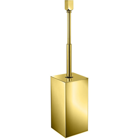 Lisa Standing Brass Toilet Brush Holder W/ Cover - Chrome/ Gold