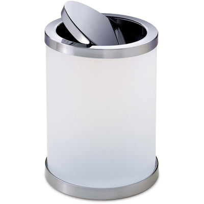 Addition Frosted Glass Swing Lid Wastebasket Trash Can for Bath, Kitchen, Office - AGM Home Store LLC