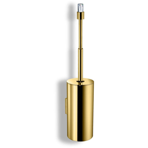 Concept Wall Brass Toilet Brush Holder W/ Cover - Swarovski Crystal - Chrome/ Gold