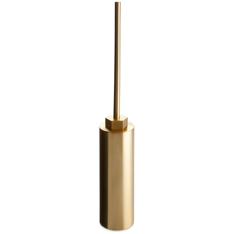 Geo Free Standing Gold Bathroom Toilet Brush Bowl Cleaner and Holder Set, Brass - AGM Home Store LLC