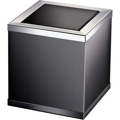 Black Square Extra Small Countertop Wastebasket Trash Can W/ Swing Lid, Solid Brass - AGM Home Store LLC