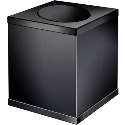 Black Square Wastebasket Trash Can for Bathroom, Kitchen W/ Swing Lid, Solid Brass - AGM Home Store LLC