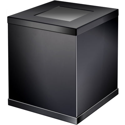 Black Square Open Top Wastebasket Trash Can for Bathroom, Kitchen, Office, Solid Brass - AGM Home Store LLC