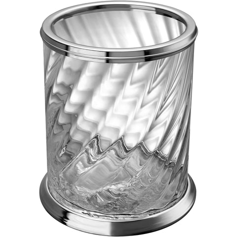 Spiral Clear Glass Round Open Top Wastebasket Trash Can Bath, Kitchen, Office - AGM Home Store LLC