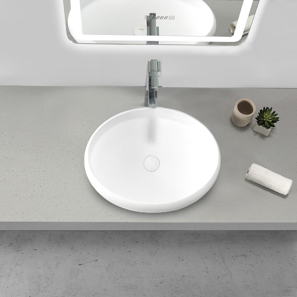 Solidtouch Round 16 In Bathroom Solid Surface Vessel Sink