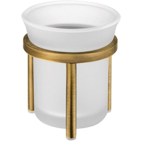 SCBA Retro Frosted Glass Bronze Toothbrush Toothpaste Holder Bath Tumbler, Brass - AGM Home Store LLC