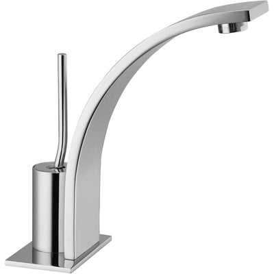 Thom Single Lever Handle Bathroom Basin Faucet With Pop-up Drain, Curved Spout - AGM Home Store LLC