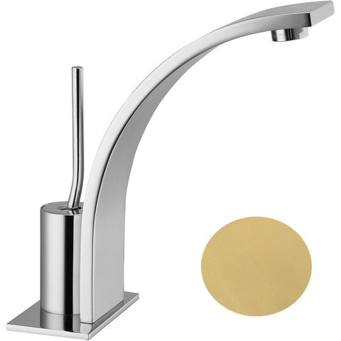 Handle Bathroom Basin Faucet Thom Single Lever With Pop-up Drain, Curved Spout - AGM Home Store LLC