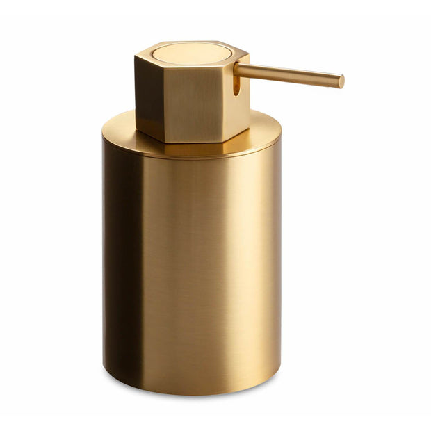 Geo Free Standing Satin Gold Pump Soap Lotion Dispenser for Bathroom, Brass - AGM Home Store LLC