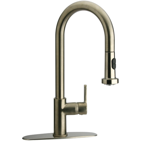 LaToscana Morgana single handle pull-down spray kitchen faucet in Brushed Nicikel - AGM Home Store LLC