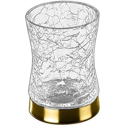 Addition Crackled Glass Round Table Toothbrush Toothpaste Holder Bath Tumbler - AGM Home Store LLC