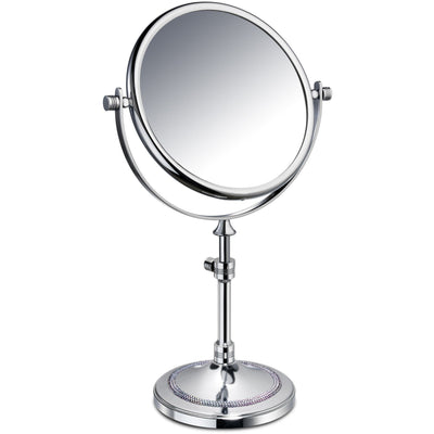 ShineLight Table 5x Circular Magnifying ADJ Mirror W/ Swarovski - AGM Home Store LLC