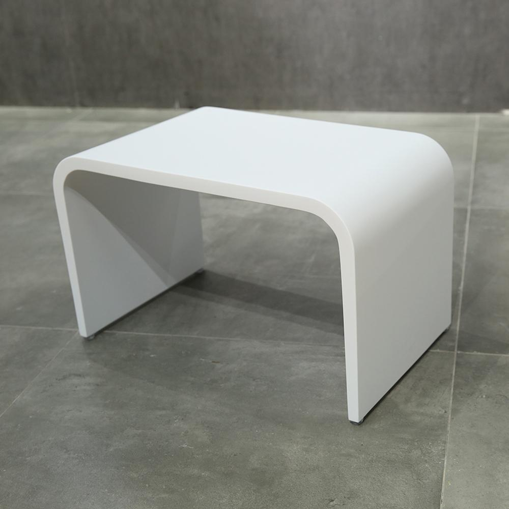 Solidtouch White Solid Surface Foot Rest Stool Seat Chair Step Stool - AGM Home Store LLC