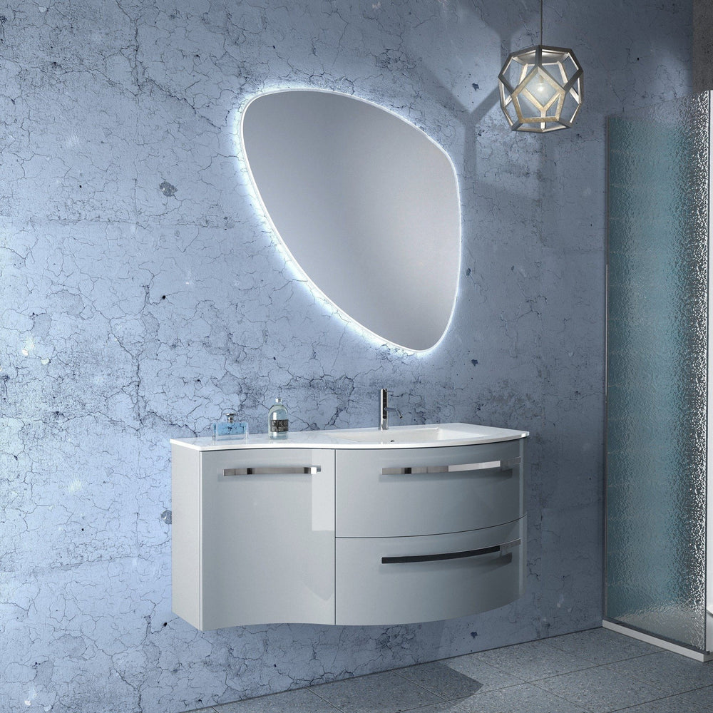 Ambra 43 in. Wall Mounted Bathroom Vanity Left Concave Cabinet Set Bath Furniture - AGM Home Store LLC
