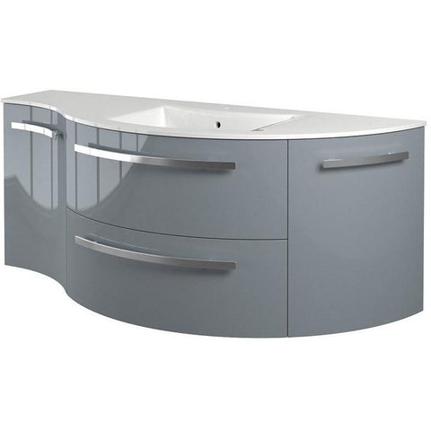 LaToscana Ambra 52 in. Wall Vanity Left Concave Right Round Cabinet Set Bath Furniture - AGM Home Store LLC